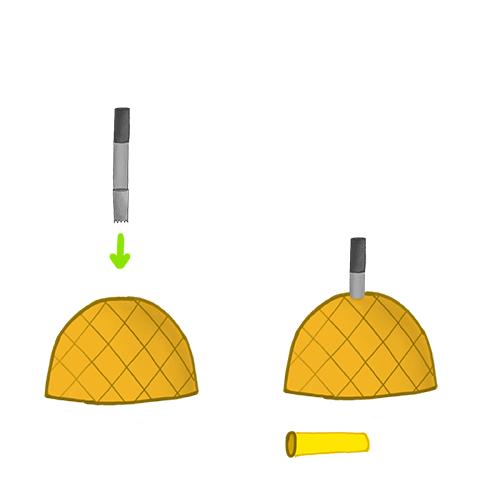 Fruchtkopf für die Shisha - nächster Schritt mit der Ananas